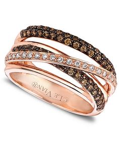 Le Vian Diamond White and Chocolate Diamond Crisscross Ring (7/8 ct. t.w.) in 14k Rose Gold - Rings - Jewelry & Watches - Macy's