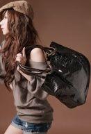 Fashion High-capacity PU Bags Black $6.49