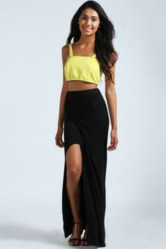 Tamsin Split Front Wrap Jersey Maxi Skirt at boohoo.com