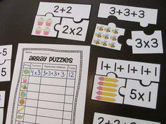 Array Puzzles math center - great visual practice for rectangular arrays