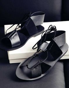 Morpheus Boutique  - Black Strap Roman Flat Lady Celebrity Sandals Shoes