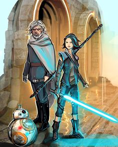 The Last Of The jedi — Luke and Rey variations. Artist credits:...