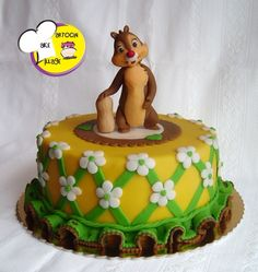 Dale of Chip 'n' Dale standing and holding a peanut Cake