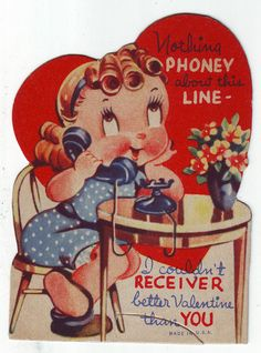 Vintage Valentines Day Card 1930s 40s Nothing Phoney About This Line Cute | eBay