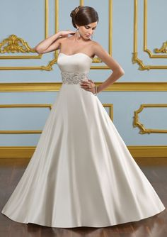 I really like this satin gown! Very simple and elegant. Mori Lee 4916 $700