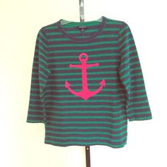 LANDS END Striped Cotton Nautical Top Navy/Green striped nautical top with bright pink anchor design on front in a nice weight cotton knit.  Three quarter length sleeves and jewel neckline.  Marked size XS but looks like a small to me.  I will list exact measurements soon or just ask.  No PP or trades.  Smoke and pet free home.  Denim skirt on another listing. Lands End Tops