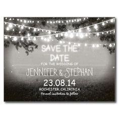"Rustic save the date postcards with black and white vintage night landscape and garden lights design. To change font color or style please push customize it button. <div style=""text-align:center;line-height:150%""> <a href=""http://www.zazzle.com/black_and_white_garden_lights_rustic_wedding_invitation-161212925856827879?rf=238735013921289874""> <img src=""http://rlv.zcache.com/black_and_white_garden_lights_rustic_wedding_invitation-rd7d90607fba44084aa957ed24a53659c_imtzy_8byvr_325.jpg""…"