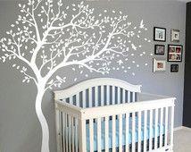 Décalque de mur blanc arbre Wall Decal autre grand mur murale Stickers Wall Stickers Decor pépinière arbre et oiseaux Wall Art Tattoo Nature - 099
