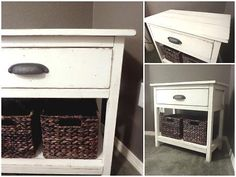 bedside table with ways to hide my clutter!