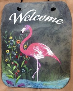 Pink Flamingo in the water with flowers hand by DidiceDesigns