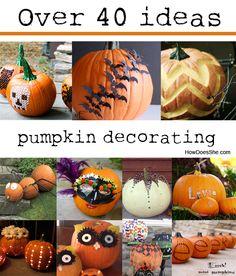 Over 40 Pumpkin Decorating Ideas.  With Video! #howdoesshe #diypumpkins howdoesshe.com