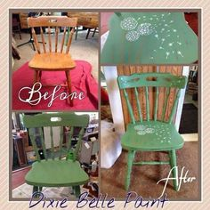 """This beautiful project comes from Rose at Falcon Floral & Gifts. Here's what she had to say: """"I wanted to share my Memory Chair with you. My mom passed away in January unexpectedly and this was one of her dining room chairs. I kept it and redone with kudzu Green, Fluff and then the Satin Clear Coat. A different keepsake that can be used in many ways."""" A sweet way to capture good memories! Thank you for sharing with us Rose!"""