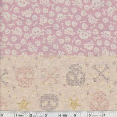 Reversible Skulls - Pink  One side of this fabric features a fun print of scattered skulls and crossbones, while the other depicts skulls and stars in a cross stitch style. The fabric is a super soft cotton/linen blend.