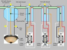 Wiring Three Switches To One Light 4 Way Switch Wiring Diagram Switch Proceeds To A 4 Wiring Light Switch Australia Diagram How To Wire A Light Switch And Basic Electrical Wiring, Electrical Switches, Electrical Wiring Diagram, Electrical Projects, Electrical Installation, Electrical Outlets, Electrical Engineering, Electronic Engineering, Solar Panel Battery