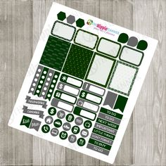 Slytherin Inspired Green and Silver Weekly Kit | Themed Planner Kit | Erin Condren Life Planner, PPP, Filofax, Scrapbooking, Calendars