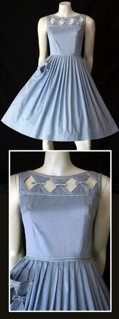 Delightful vintage 50's blue cotton dress by Kerrybrooke.