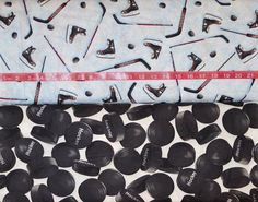 Robert Kaufman Sports Life. Hockey Toss (top) with Hockey Pucks (bottom) - BTY Cotton Fabric - Choose your cut and Print