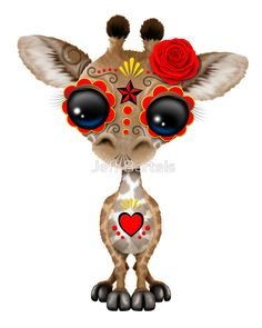 Pink Day of the Dead Sugar Skull Baby Giraffe, de Jeff Bartels Sugar Skull Tattoos, Sugar Skull Art, Sugar Skulls, Regard Animal, Baby Animals, Cute Animals, Baby Giraffes, Wild Animals, Lapin Art