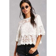 Forever21 Selfie Leslie Crochet Top ($38) ❤ liked on Polyvore featuring tops, white, crochet tops, scalloped tops, crochet sleeve top, white short sleeve top and floral tops