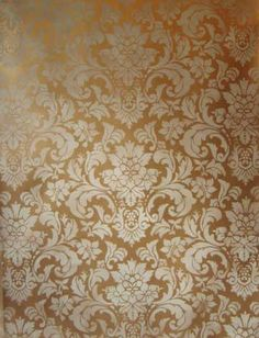 Damask Stone Gold Finish | Sample by Classical Addiction with Modern Masters Pale Gold Metallic Paint base and Benjamin Moore Monroe Bisque for the stenciling.