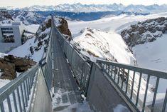 Peak Walk by Tissot, Bernese Oberland, Switzerland Gstaad Switzerland, Swiss Ski, On A Clear Day, Scary Places, Suspension Bridge, Walking By, Alps, Winter, Mount Everest