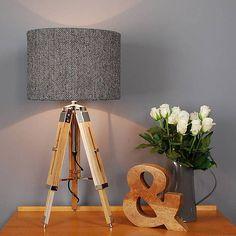 harris tweed herringbone tripod table lamp by quirk   notonthehighstreet.com