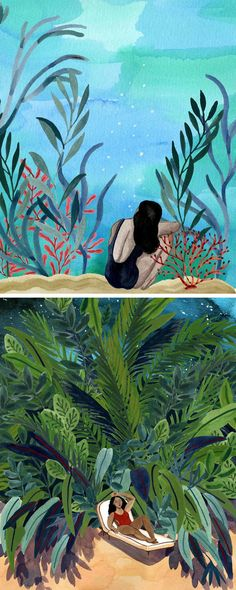 Summer illustrations by Angela McKay // gouache paintings