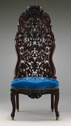 John Belter was one of the most known Rococo Style furniture makers. The Rococo style consisted of unique style curves engraved into the laminated wood.   OMG