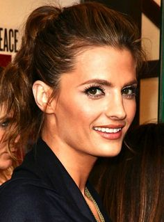 Stana Katic  Seriously? She looks gorgeous even with her hair in a ponytail.