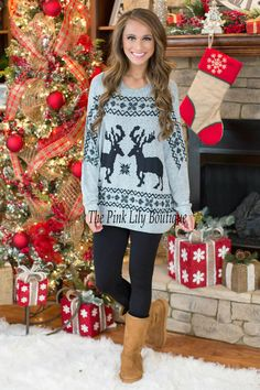 Up On The Rooftop Reindeer Tunic Black
