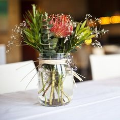 Image result for protea roses mason jars