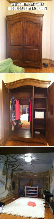 This is a brilliant idea! Narnia themed room with a hidden wardrobe entrance.