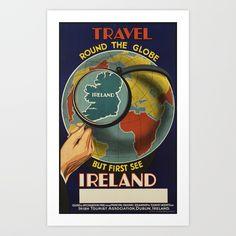 X Ireland Travel Round The Globe Dublin Travel Tourism Vintage Poster Repro Standard Image Size for Framing. Dublin Travel, Ireland Travel, Japan Travel, Vintage Travel Posters, Vintage Postcards, Vintage Gifts, Vintage Cars, Poster Ads, Poster Prints