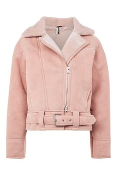 Discover the latest in women's fashion and new season trends at Topshop. Shop must-have dresses, coats, shoes and more. Shearling Jacket, Fur Jacket, Leather Jacket, Moto Jacket, Pink Motorcycle, Riders Jacket, Pink Jacket, Outfit Goals, Outerwear Jackets