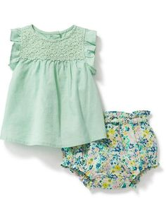 Linen-Blend Top & Floral Bloomer Set for Baby