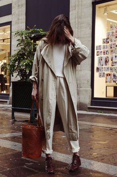 khaki + white + brown shoes