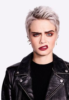 Cara Delevingne Hair, Celebrity Skin, Punk Rock Fashion, Fashion Photography Poses, Face Expressions, Celebs, Celebrities, Female Portrait, Belle Photo