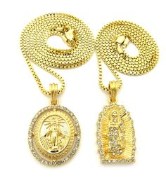 14k Gold GP Virgin Mother Mary Diamond Cz Pendant Chain - Bling Jewelz