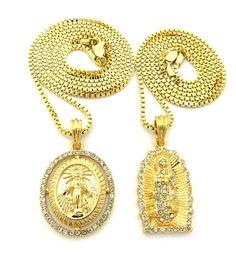 14k Gold GP Virgin Mother Mary Diamond Cz Pendant Chain - Bling Jewelz