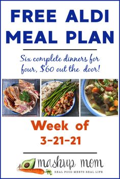 Free ALDI Meal Plan for the week of 3/21/21: Six complete dinners for four, $60 out the door. Enjoy everything from easy kielbasa quesadillas to a tilapia sheet pan dinner this week, and so much more. You'll find new free ALDI meal plans every week, so save time and money with meal planning! Real Food Recipes, Yummy Food, Healthy Recipes, Yummy Recipes, Aldi Meal Plan, Meal Prep, Meal Planning Board, Dinner This Week, Meals