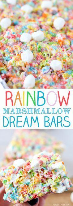 Rainbow Marshmallow Dream Bars - the ultimate Fruity Pebbles treats!