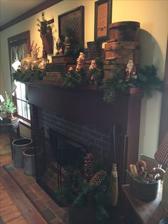 Wintertime Home Decorating Christmas Fireplace, Christmas Room, Prim Christmas, Christmas Mantels, Antique Christmas, Christmas Decorations, Xmas, Primitive Fireplace, Primitive Living Room