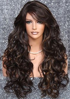 Beautiful Human Hair Blend Brown Blonde/Light Auburn mix Long Full Wig Heat Resistant with curls and bangs and side parting Hollywood Glamour, Curly Hair Styles, Natural Hair Styles, Wig Styles, Light Auburn, Color Rubio, Wispy Bangs, Brown To Blonde, Curly Wigs