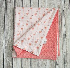 Coral Flamingo Baby Blanket, Coral Baby Blanket, Tropical Baby Blanket by ModernBabyDesign on Etsy