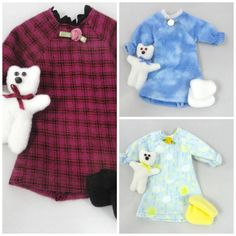 Doll Clothes sets: Nightgown, Teddy Bear,  Slippers by JoellesDolls