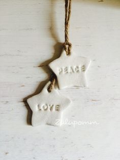 Gorgeous Love & Peace clay ornaments  Handmade clay ornaments. Can be personalised. If youd prefer the ornaments hanging individually please let me know
