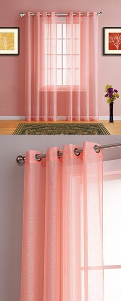 Linen Grommet Sheer Curtain Panel Blush - Threshold, Coral View ...