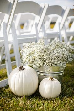 20 Pumpkin Decor Ideas: Chic white pumpkins and baby's breath floral arrangement in tin container {Megan Manus Photography}