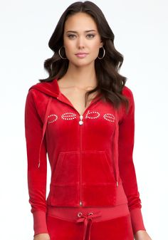 bebe Logo Velour Hoodie in Chili Pepper $98 #bebewishlist