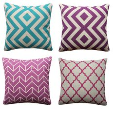 Geometric Turquoise Purple Cushion Cover Herringbone Diamond Throw Pillow Cover Purple Cushion Covers, Purple Cushions, Throw Pillow Covers, Throw Pillows, Geometric Cushions, Turquoise And Purple, Herringbone, Decorative Pillows, Diamond